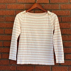 J Crew Small Pink and White Striped Painter Tee